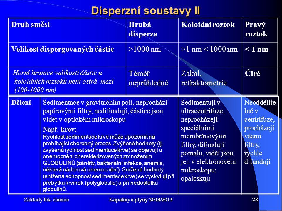 Disperzní soustavy II Druh směsi Hrubá disperze Koloidní roztok