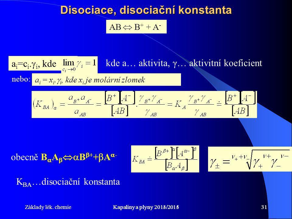 Disociace, disociační konstanta