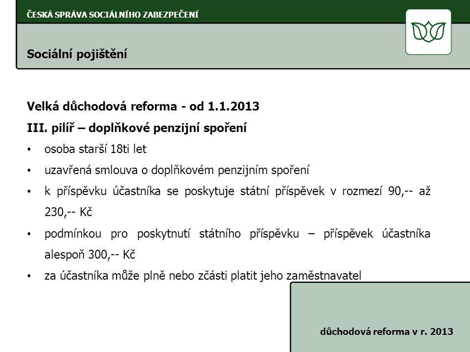 Velká důchodová reforma - od 1.1.2013
