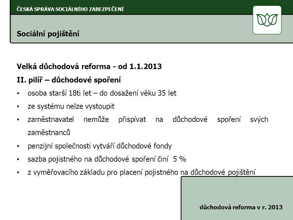 Velká důchodová reforma - od 1.1.2013 II. pilíř – důchodové spoření