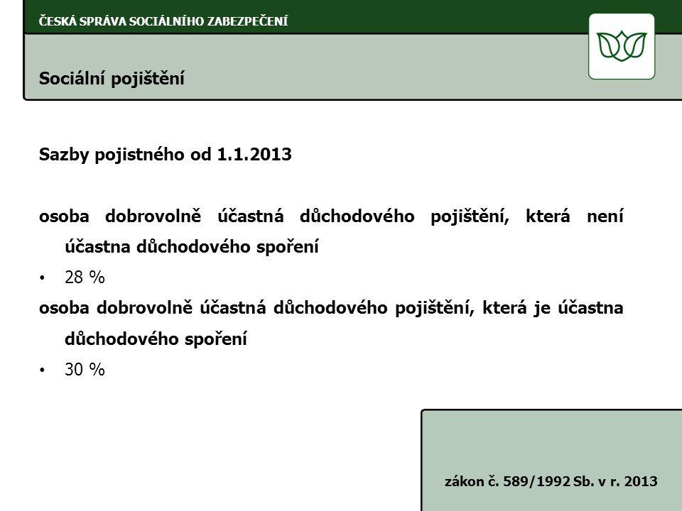 Sociální pojištění Sazby pojistného od 1.1.2013