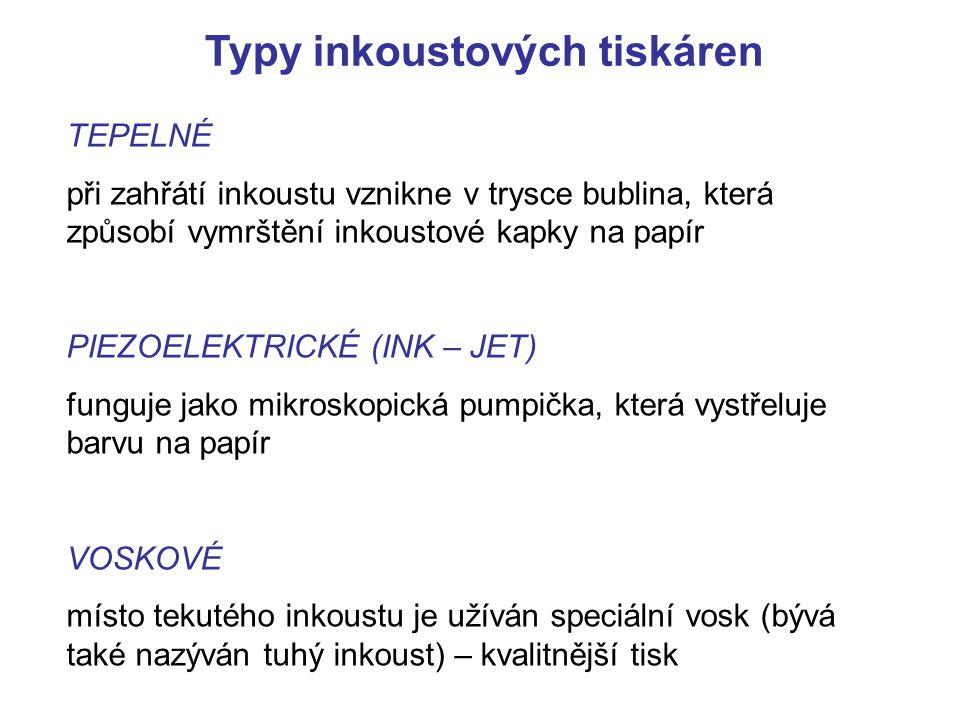 Typy inkoustových tiskáren