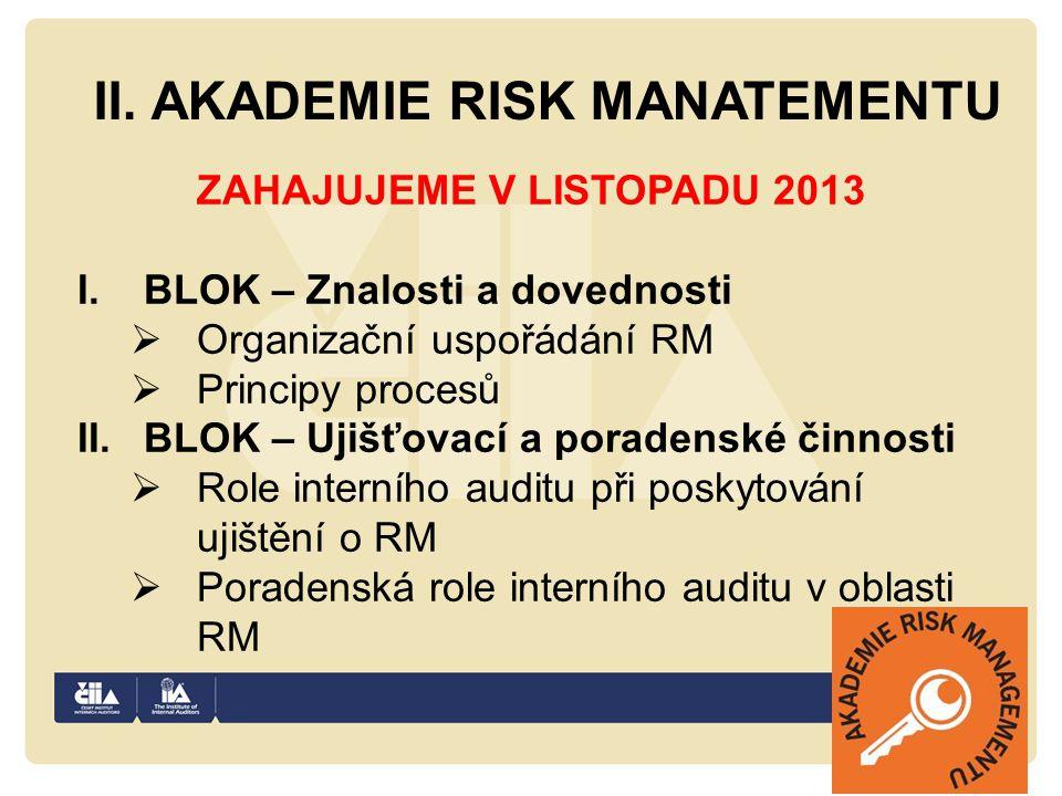 II. AKADEMIE RISK MANATEMENTU ZAHAJUJEME V LISTOPADU 2013