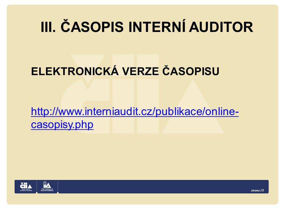 III. ČASOPIS INTERNÍ AUDITOR