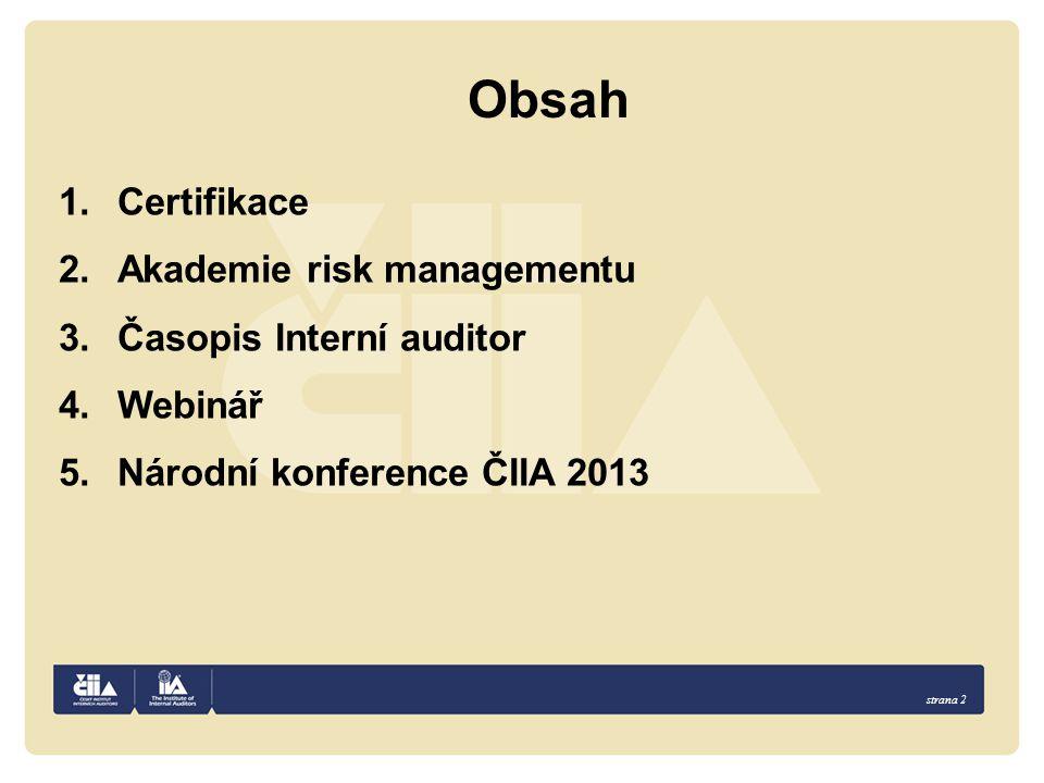 Obsah Certifikace Akademie risk managementu Časopis Interní auditor