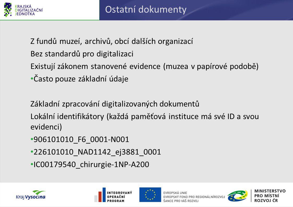 Ostatní dokumenty Z fundů muzeí, archivů, obcí dalších organizací