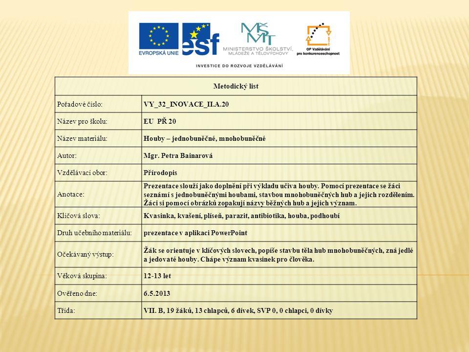 Metodický list Pořadové číslo: VY_32_INOVACE_II.A.20. Název pro školu: EU PŘ 20. Název materiálu:
