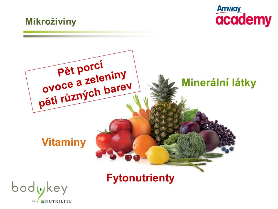 Pět porcí ovoce a zeleniny pěti různých barev Minerální látky