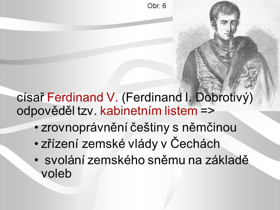 zrovnoprávnění češtiny s němčinou zřízení zemské vlády v Čechách