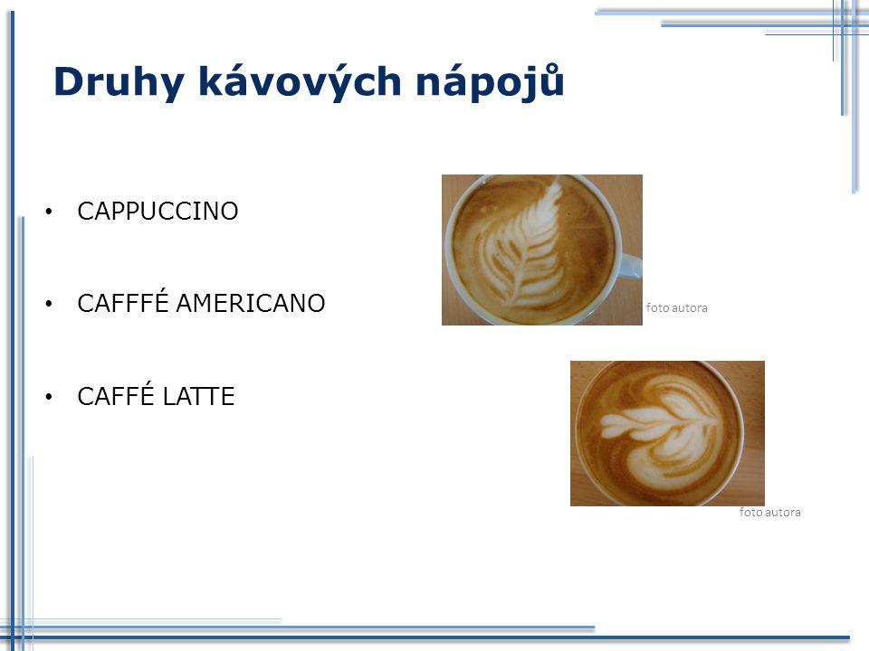 Druhy kávových nápojů CAPPUCCINO CAFFFÉ AMERICANO foto autora