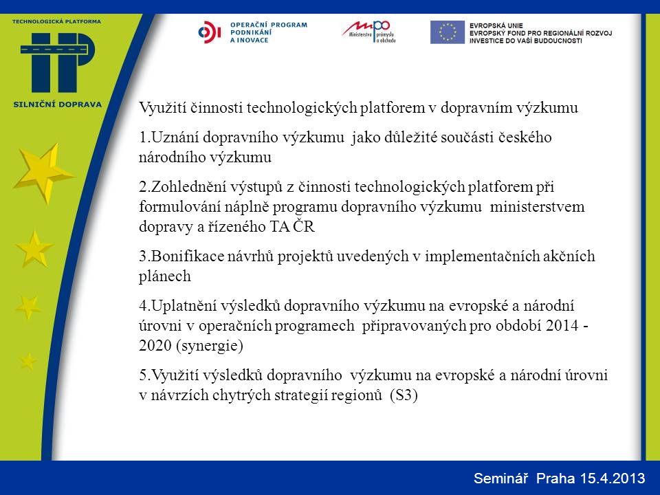 Využití činnosti technologických platforem v dopravním výzkumu