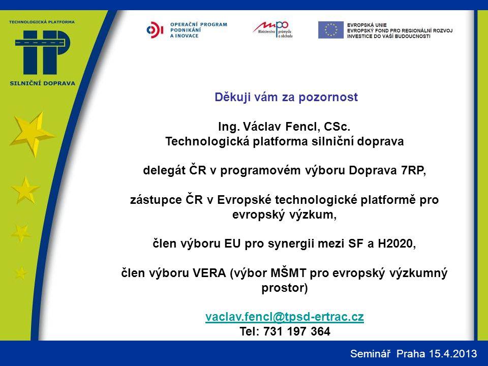 Děkuji vám za pozornost Ing. Václav Fencl, CSc.