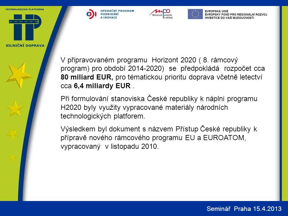 V připravovaném programu Horizont 2020 ( 8