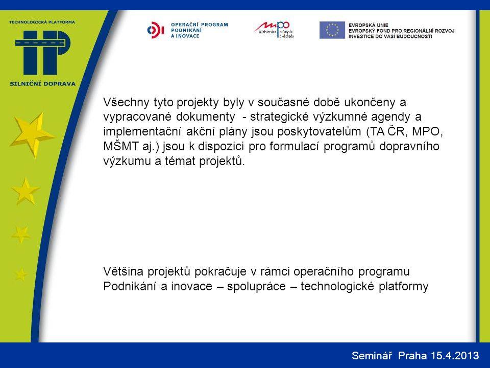 Všechny tyto projekty byly v současné době ukončeny a vypracované dokumenty - strategické výzkumné agendy a implementační akční plány jsou poskytovatelům (TA ČR, MPO, MŠMT aj.) jsou k dispozici pro formulací programů dopravního výzkumu a témat projektů.