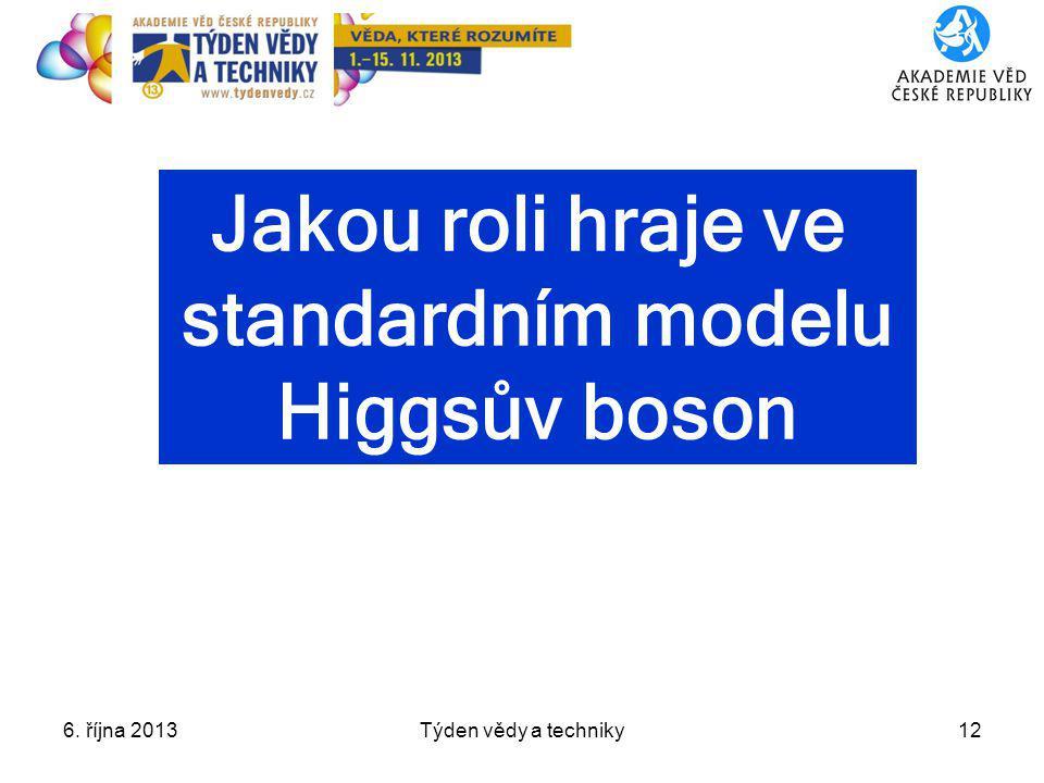 Jakou roli hraje ve standardním modelu Higgsův boson