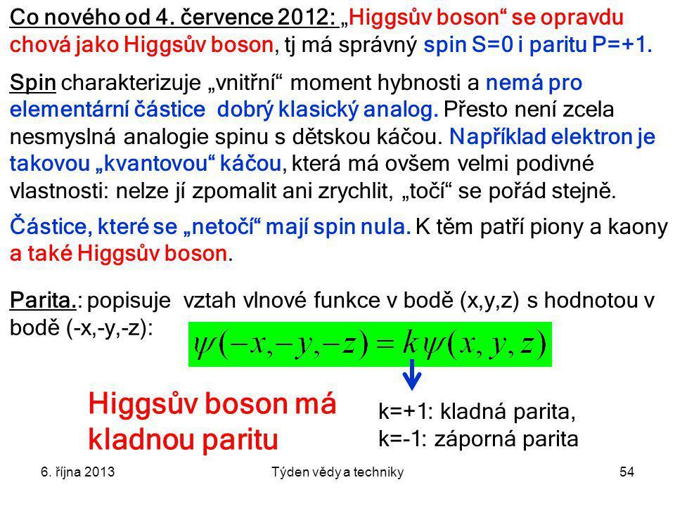 Higgsův boson má kladnou paritu