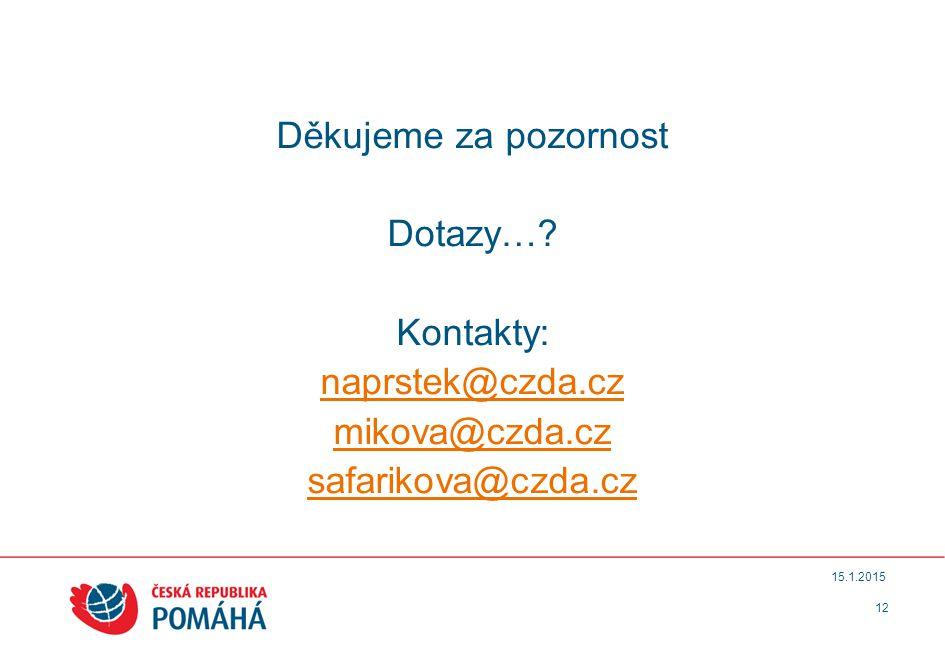 Děkujeme za pozornost Dotazy… Kontakty: naprstek@czda.cz