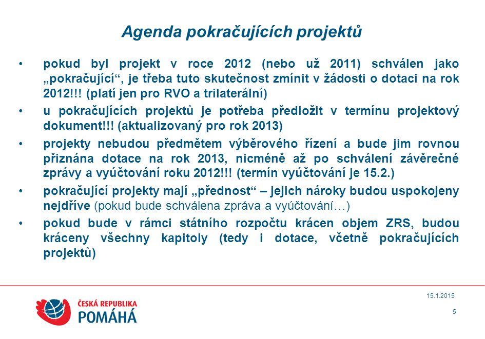 Agenda pokračujících projektů