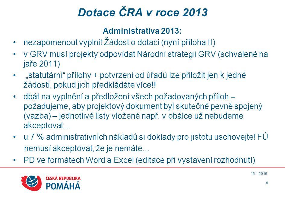 Dotace ČRA v roce 2013 Administrativa 2013: