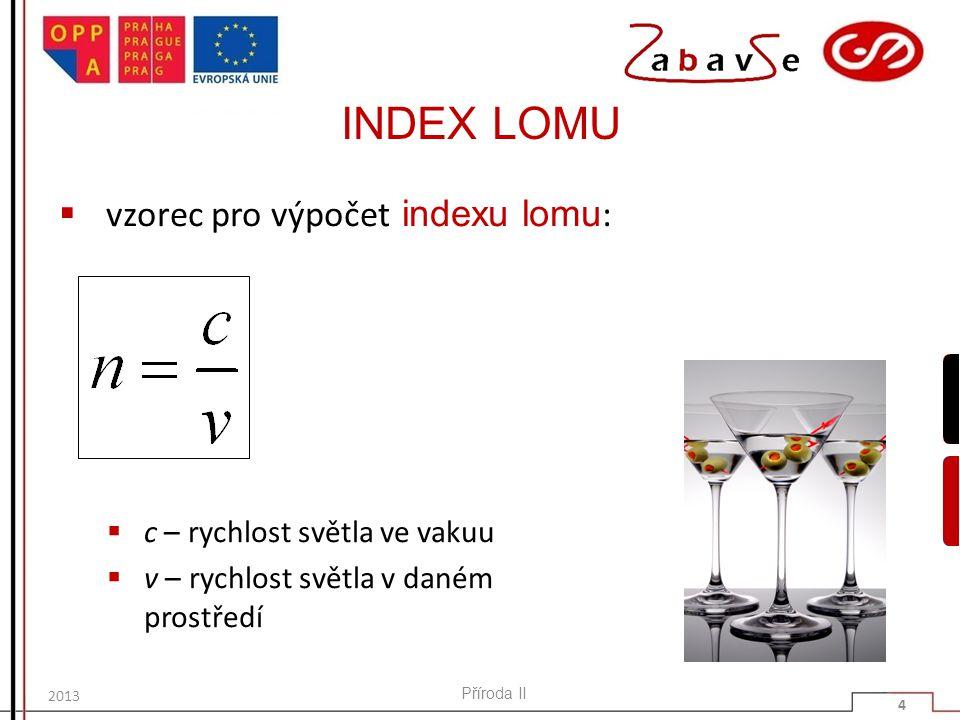 INDEX LOMU vzorec pro výpočet indexu lomu: