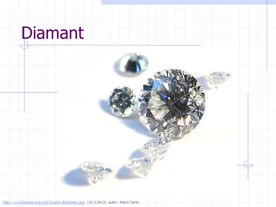 Diamant http://cs.wikipedia.org/wiki/Soubor:Brillanten.jpg (31.3.2013) autor: Mario Sarto
