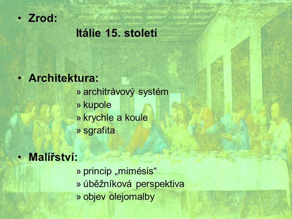 Zrod: Itálie 15. století Architektura: Malířství: architrávový systém