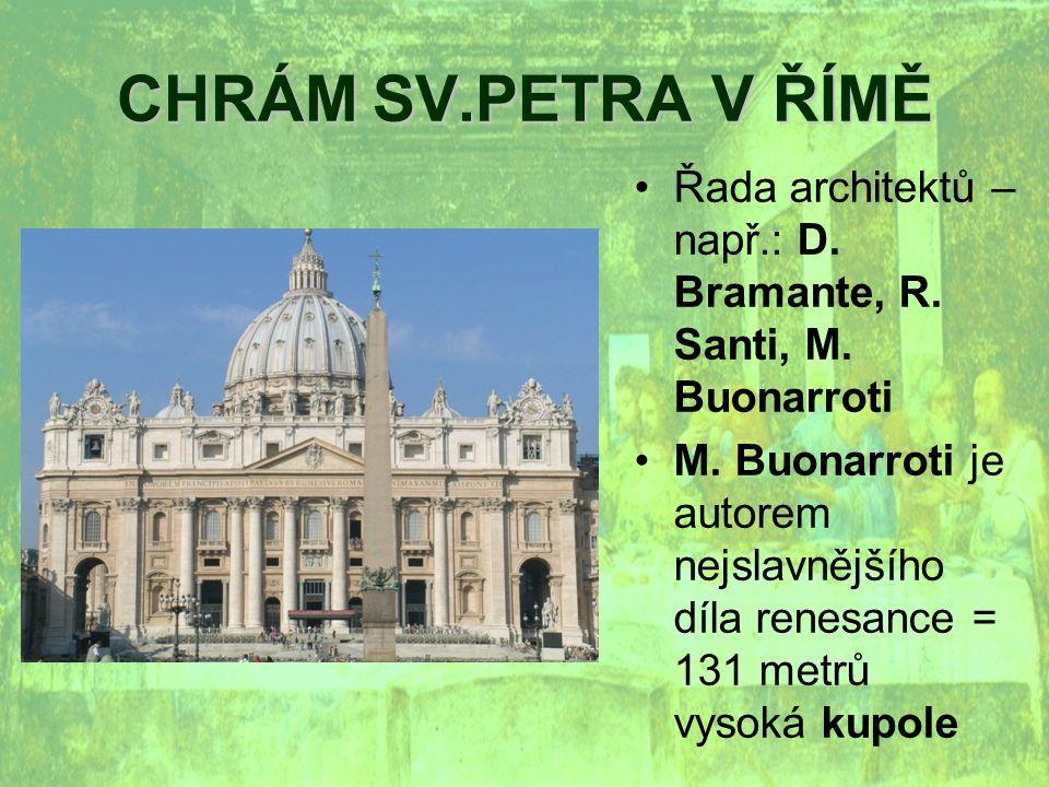 CHRÁM SV.PETRA V ŘÍMĚ Řada architektů – např.: D. Bramante, R. Santi, M. Buonarroti.