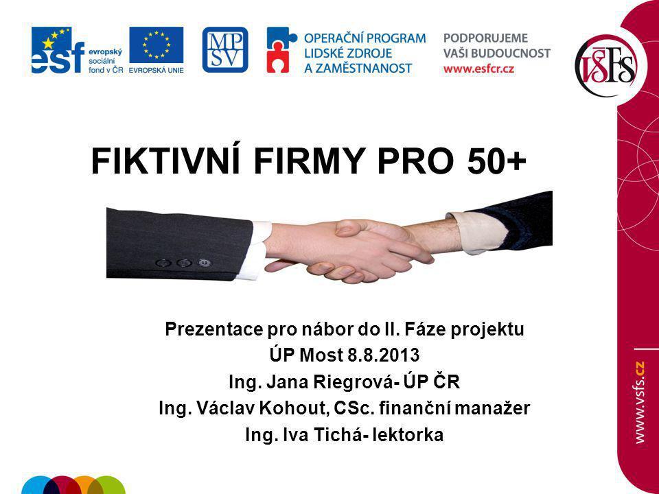 FIKTIVNÍ FIRMY PRO 50+ Prezentace pro nábor do II. Fáze projektu