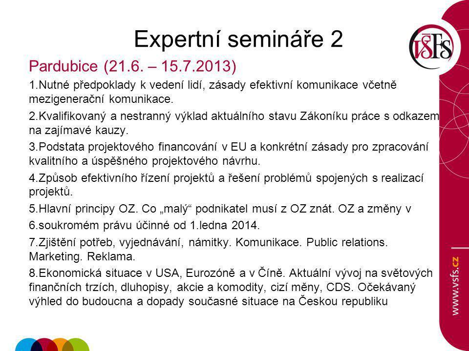 Expertní semináře 2 Pardubice (21.6. – 15.7.2013)