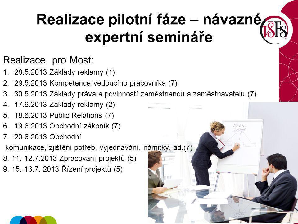 Realizace pilotní fáze – návazné expertní semináře