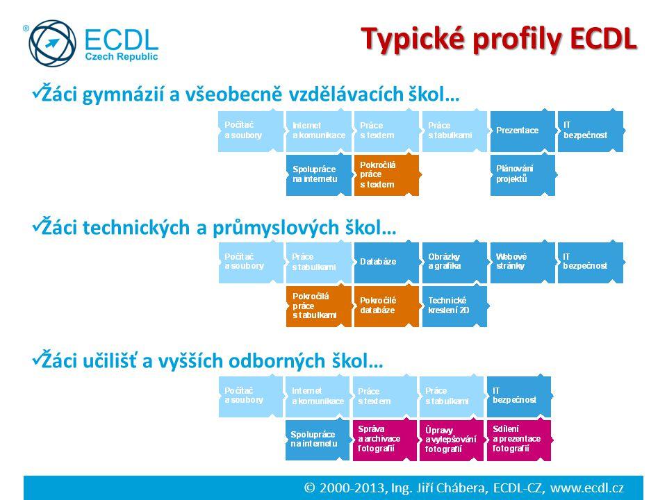 Typické profily ECDL Žáci gymnázií a všeobecně vzdělávacích škol…