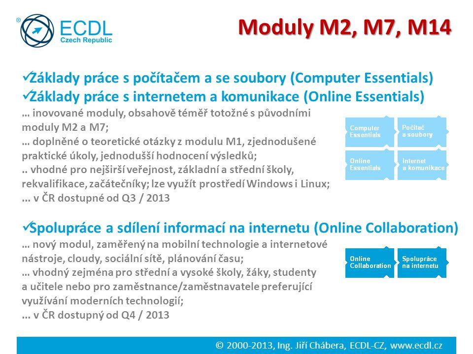 Moduly M2, M7, M14 Základy práce s počítačem a se soubory (Computer Essentials) Základy práce s internetem a komunikace (Online Essentials)