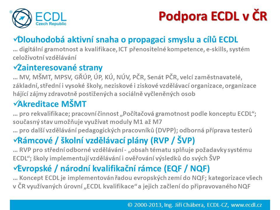 Podpora ECDL v ČR Dlouhodobá aktivní snaha o propagaci smyslu a cílů ECDL.