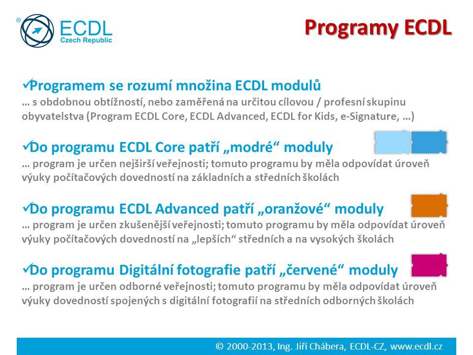 Programy ECDL Programem se rozumí množina ECDL modulů