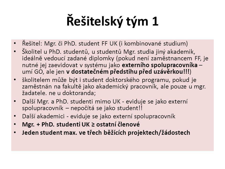 Řešitelský tým 1 Řešitel: Mgr. či PhD. student FF UK (i kombinované studium)