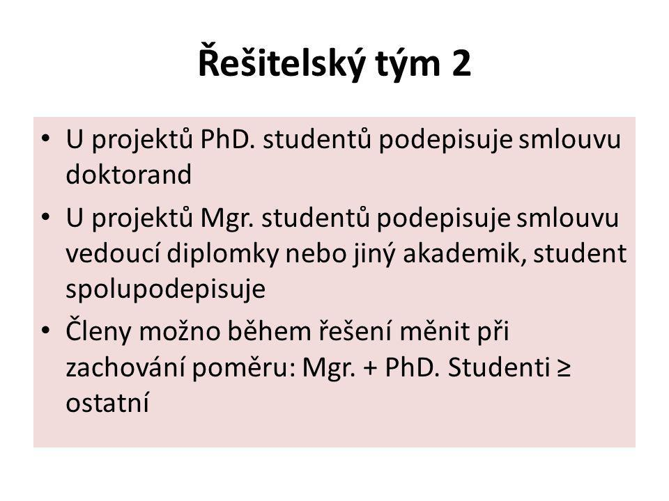 Řešitelský tým 2 U projektů PhD. studentů podepisuje smlouvu doktorand