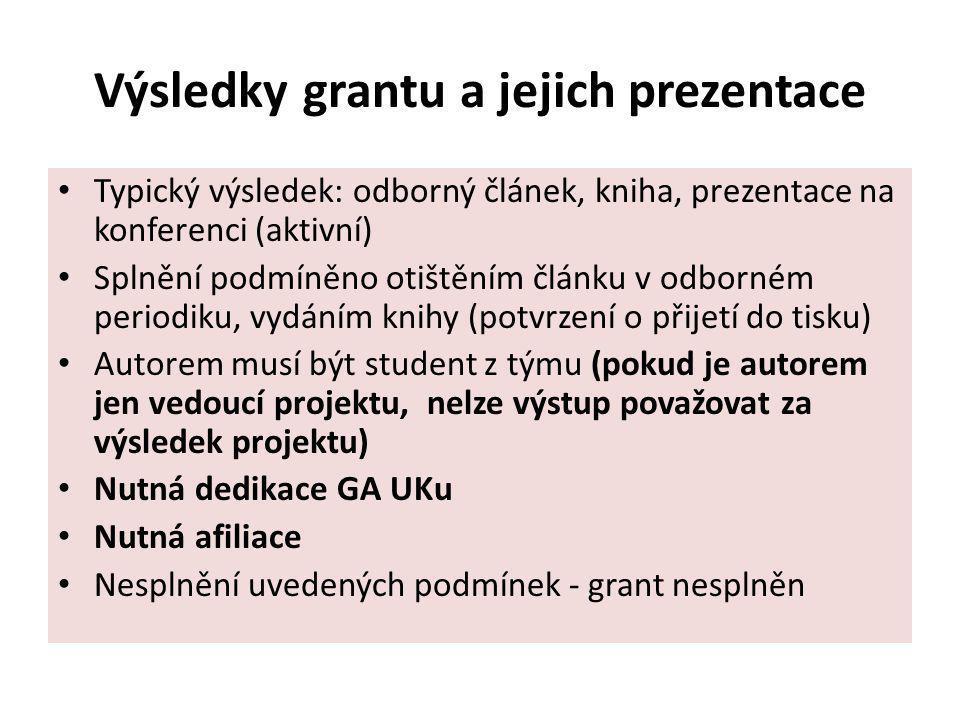Výsledky grantu a jejich prezentace