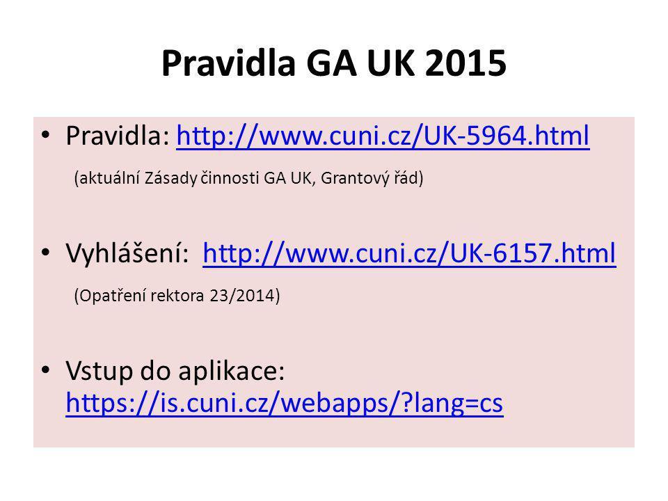 Pravidla GA UK 2015 Pravidla: http://www.cuni.cz/UK-5964.html