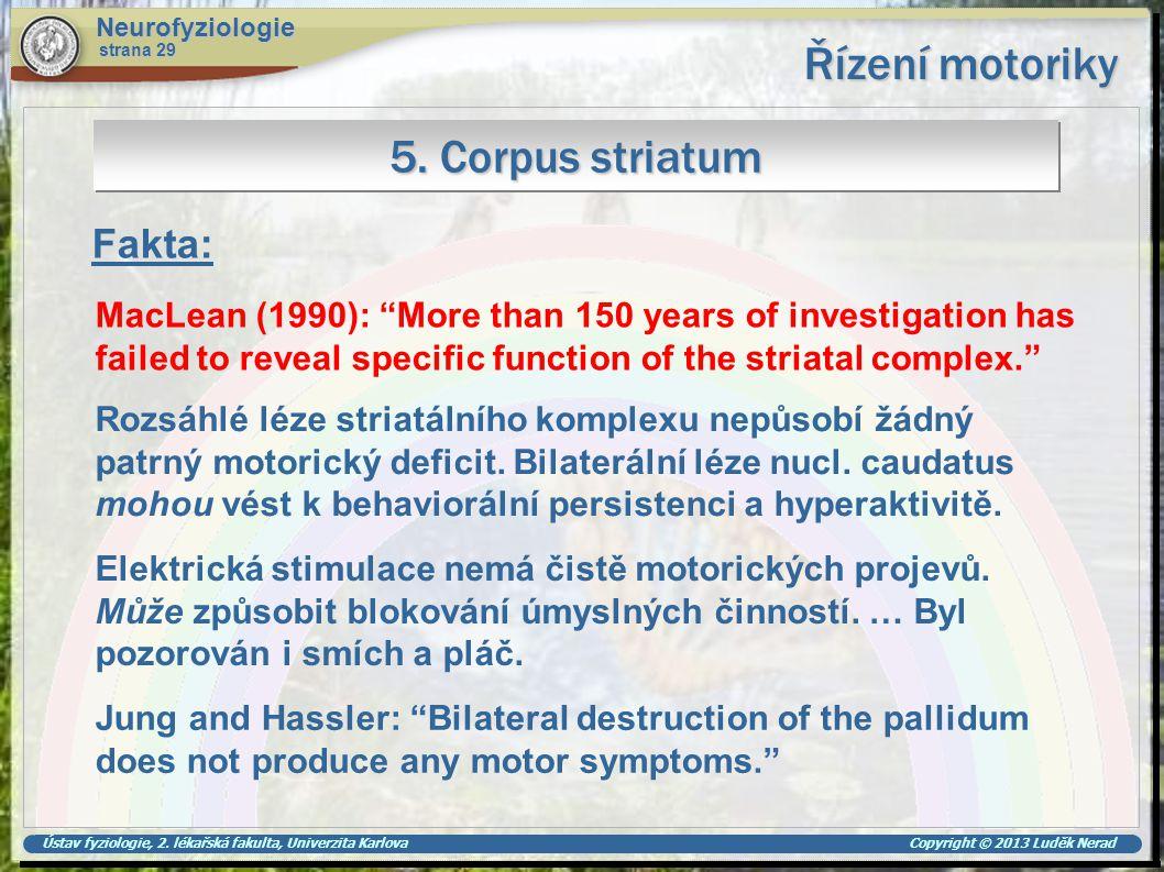 Řízení motoriky 5. Corpus striatum Fakta: