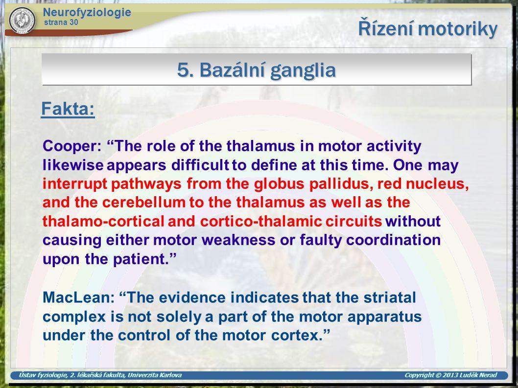 Řízení motoriky 5. Bazální ganglia Fakta: