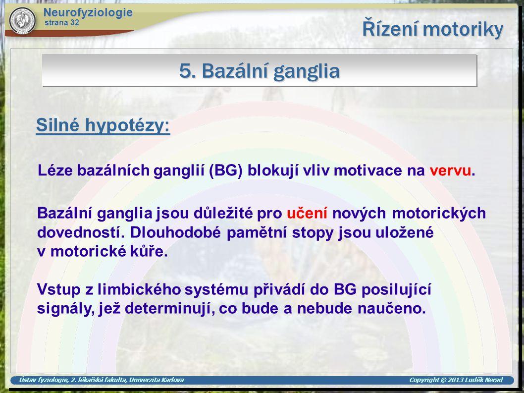 Řízení motoriky 5. Bazální ganglia Silné hypotézy: