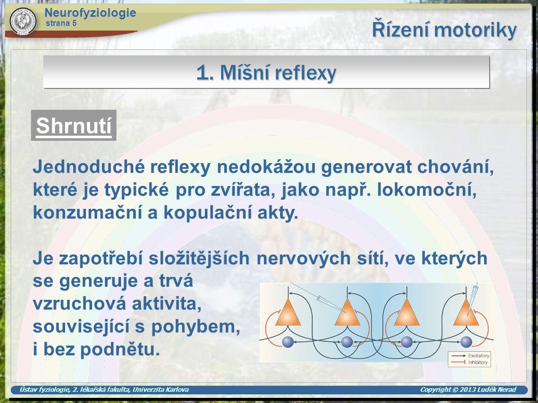 Řízení motoriky 1. Míšní reflexy Shrnutí