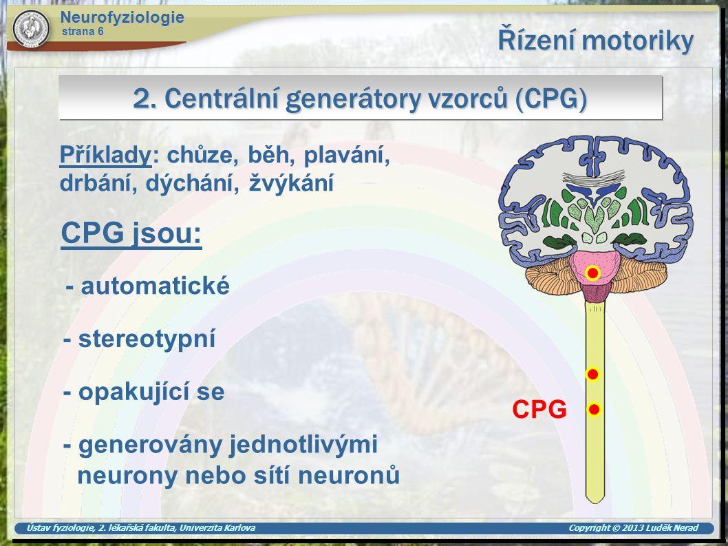 2. Centrální generátory vzorců (CPG)