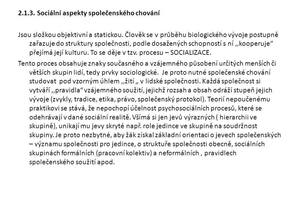 2.1.3. Sociální aspekty společenského chování Jsou složkou objektivní a statickou.