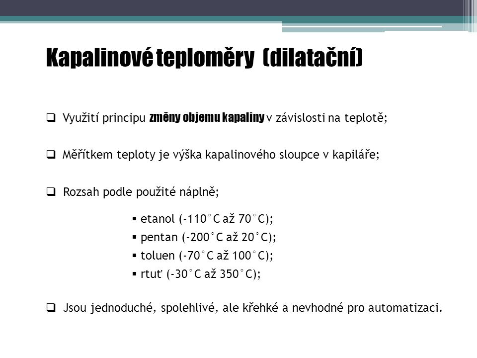 Kapalinové teploměry (dilatační)