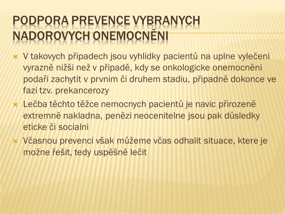 Podpora prevence vybranych nadorovych onemocněni