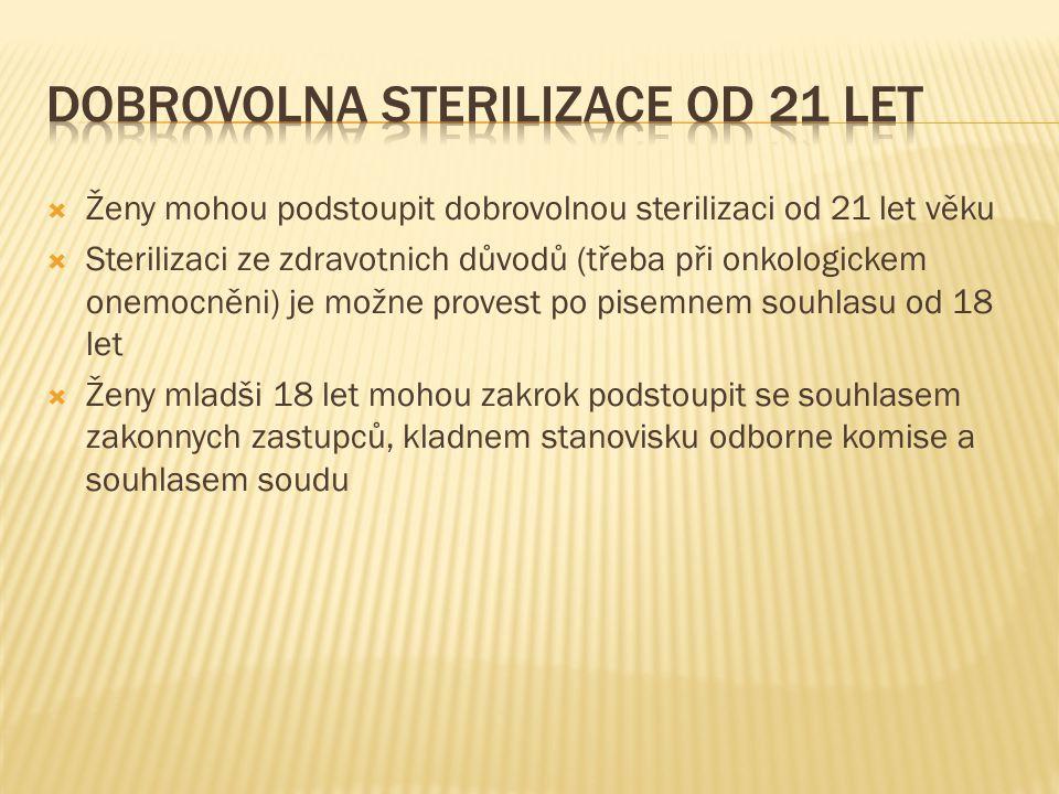 Dobrovolna sterilizace od 21 let