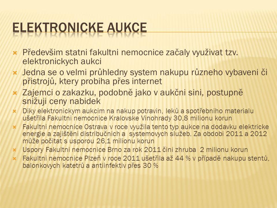 Elektronicke aukce Předevšim statni fakultni nemocnice začaly využivat tzv. elektronickych aukci.