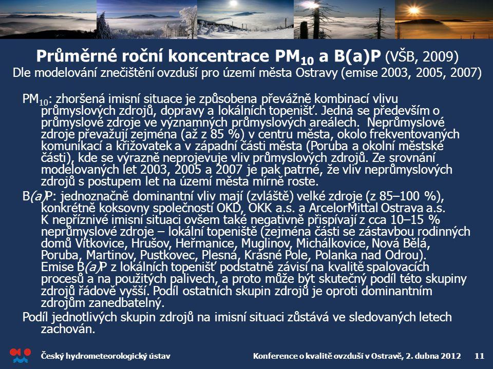 Průměrné roční koncentrace PM10 a B(a)P (VŠB, 2009) Dle modelování znečištění ovzduší pro území města Ostravy (emise 2003, 2005, 2007)