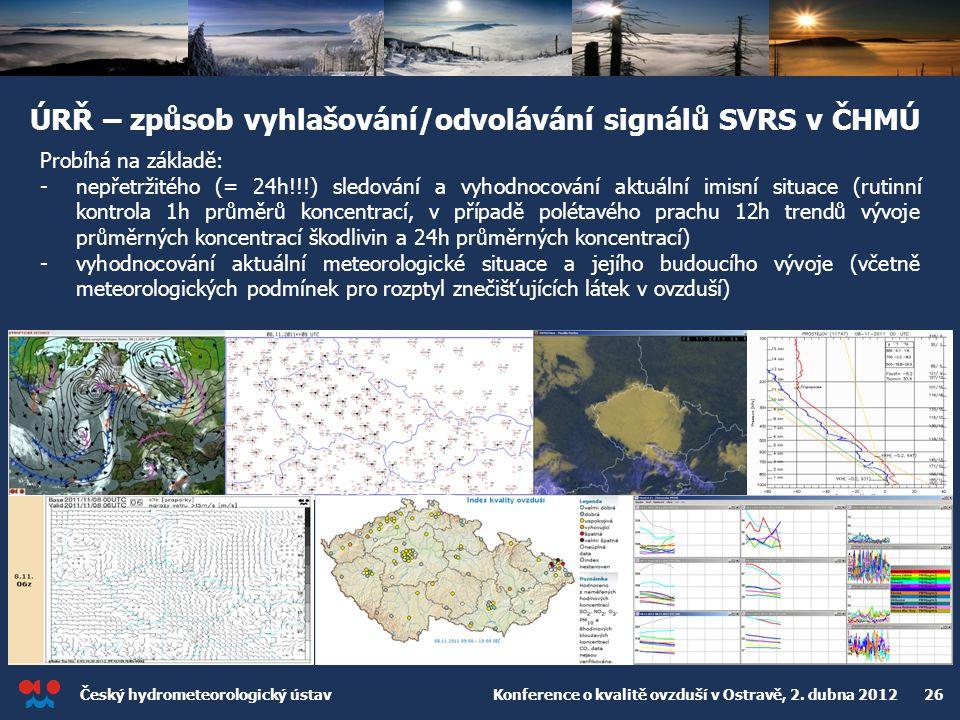 ÚRŘ – způsob vyhlašování/odvolávání signálů SVRS v ČHMÚ